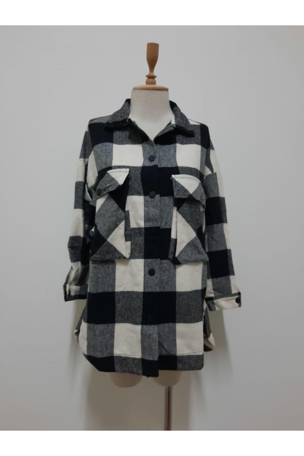 Ekose Desen Kaşe Ceket Gömlek - SİYAH