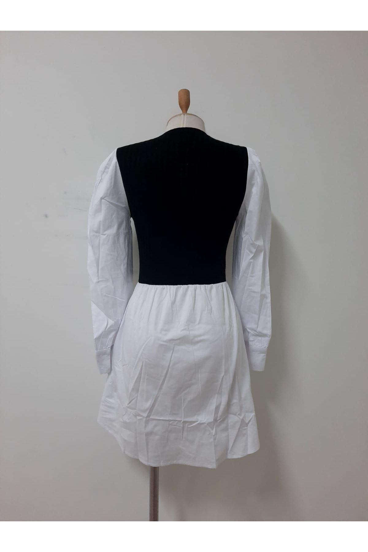 Prenses Omuz Tasarım Elbise - BEYAZ