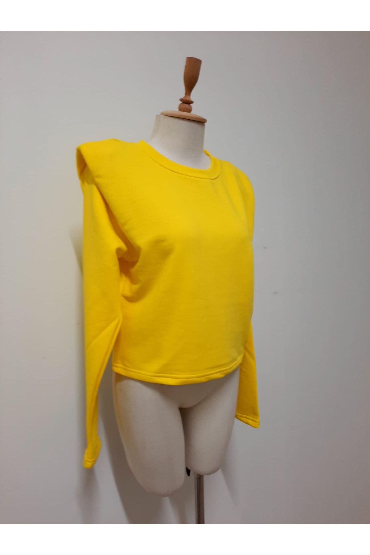 Omuz Vatkalı Sweat - sarı