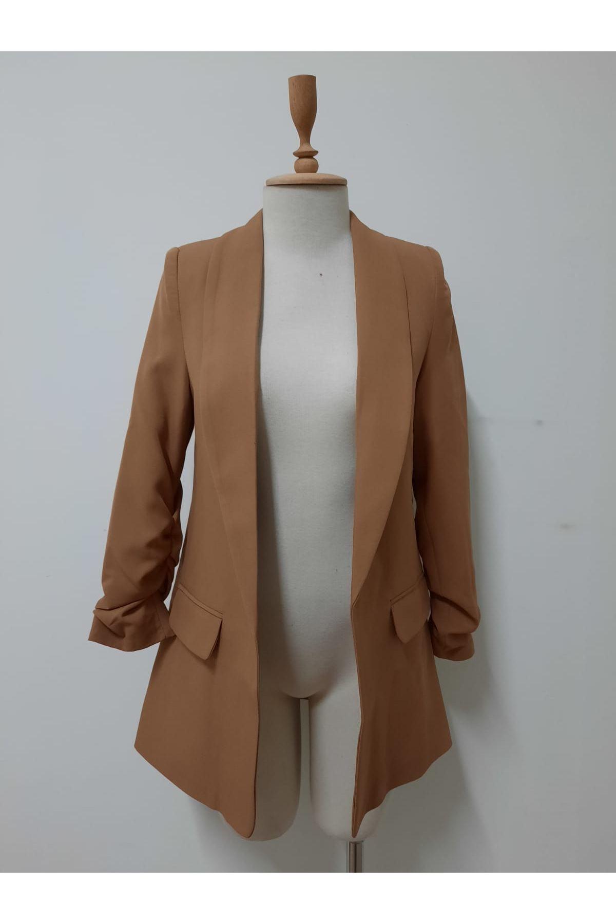 Kol Büzgülü Tasarım Ceket - VİZON