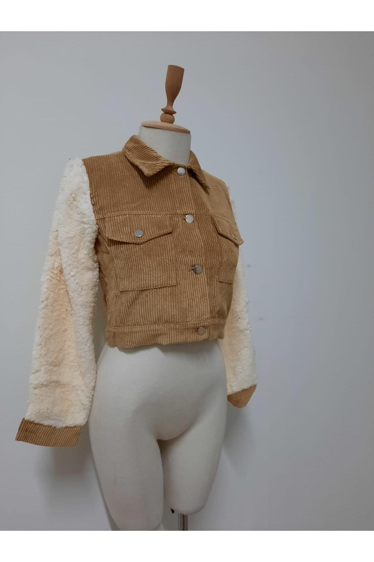 Kolları Peluş Kadife Ceket - VİZON