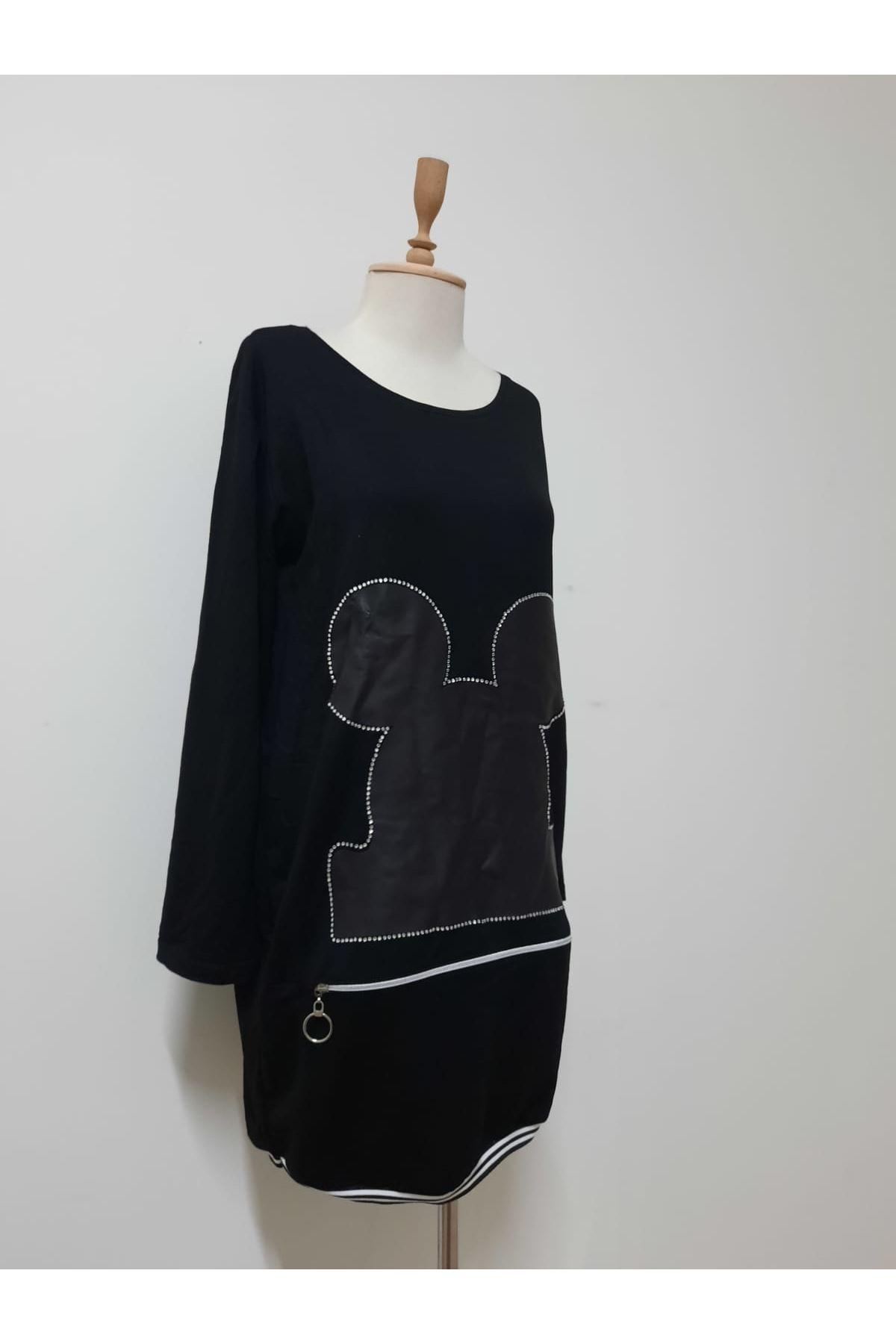 Mickey Taşlı Tunik Elbise - siyah