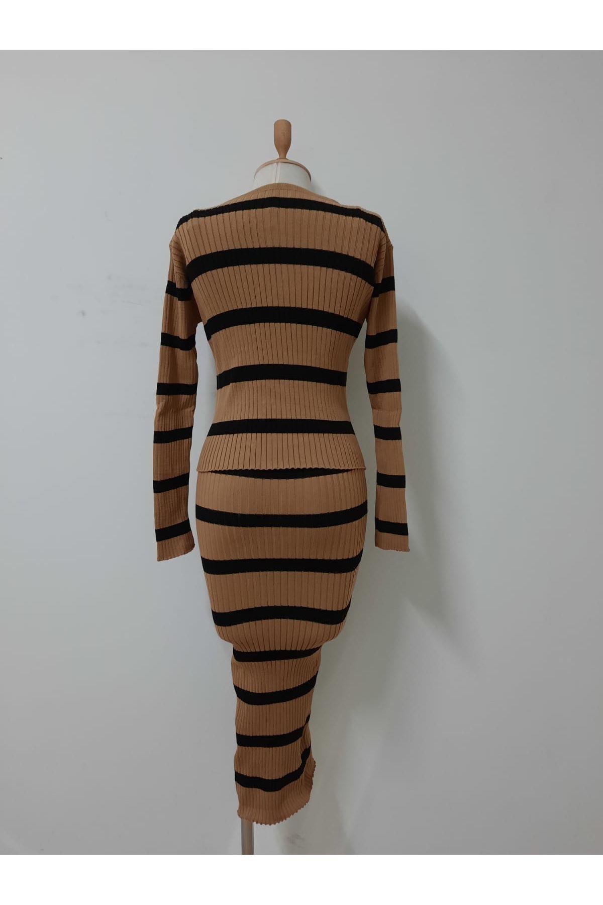 Çizgi Kalem Elbise İkili Takım - VİZON