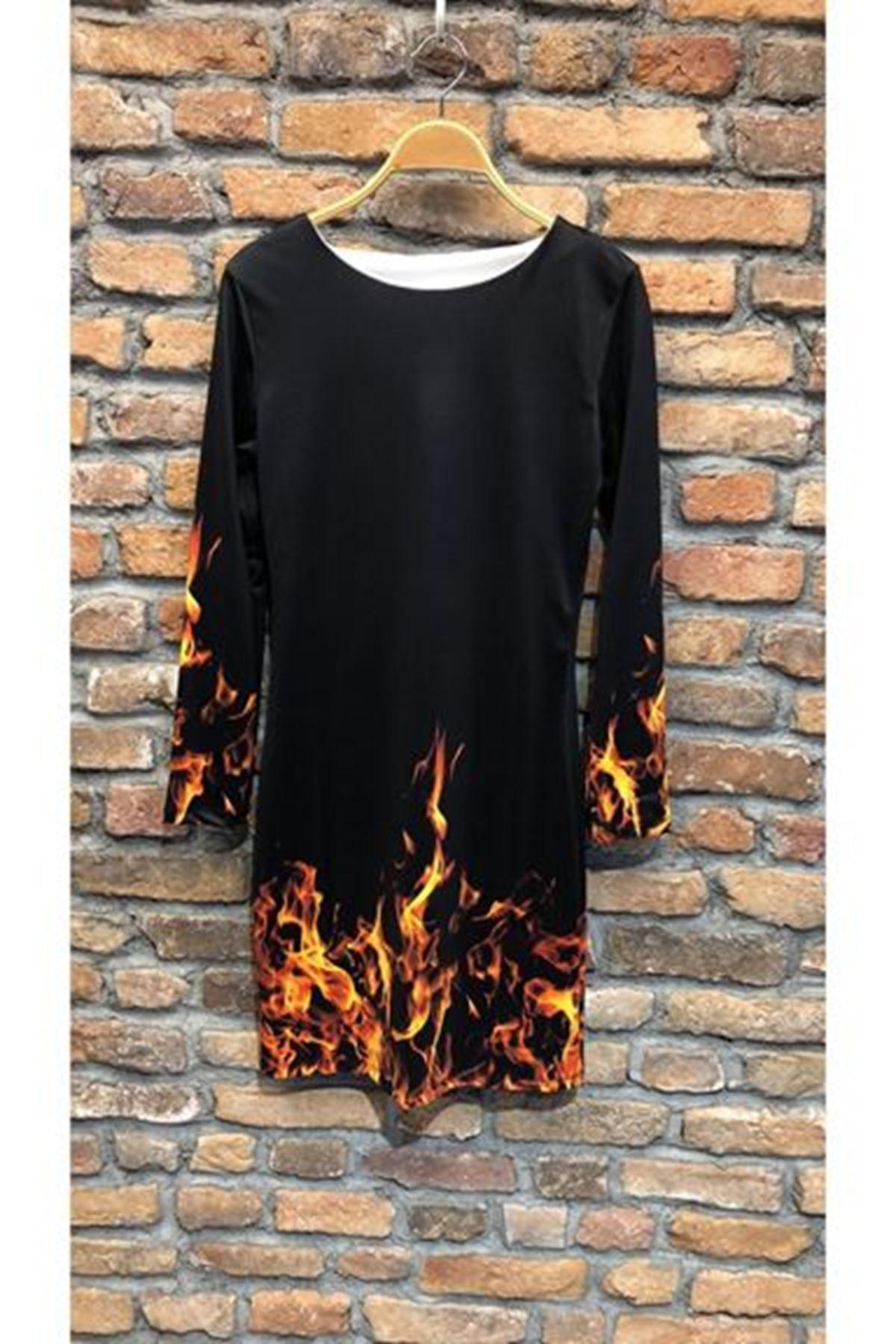 Dijital Alevli Mini Elbise - siyah