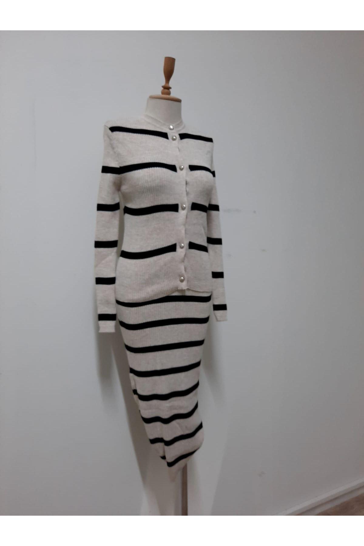 Çizgi Kalem Elbise İkili Takım - TAŞ
