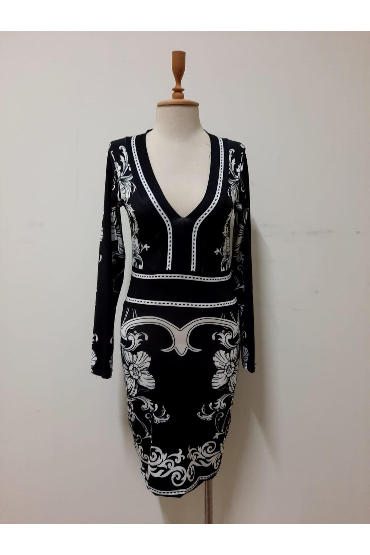 Dijital Otantik Desen Elbise - siyah