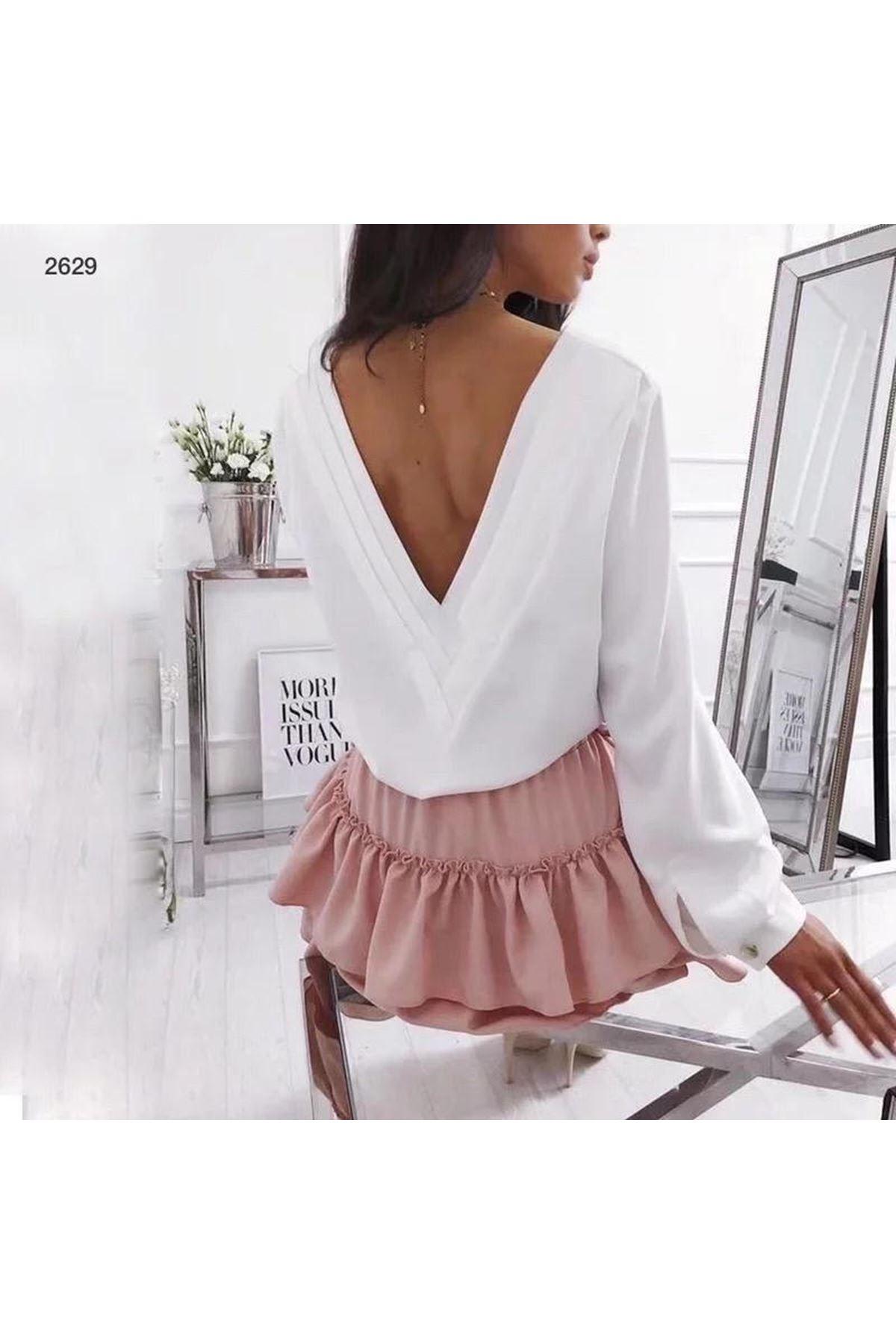 Sırt V Yaka Bluz - beyaz