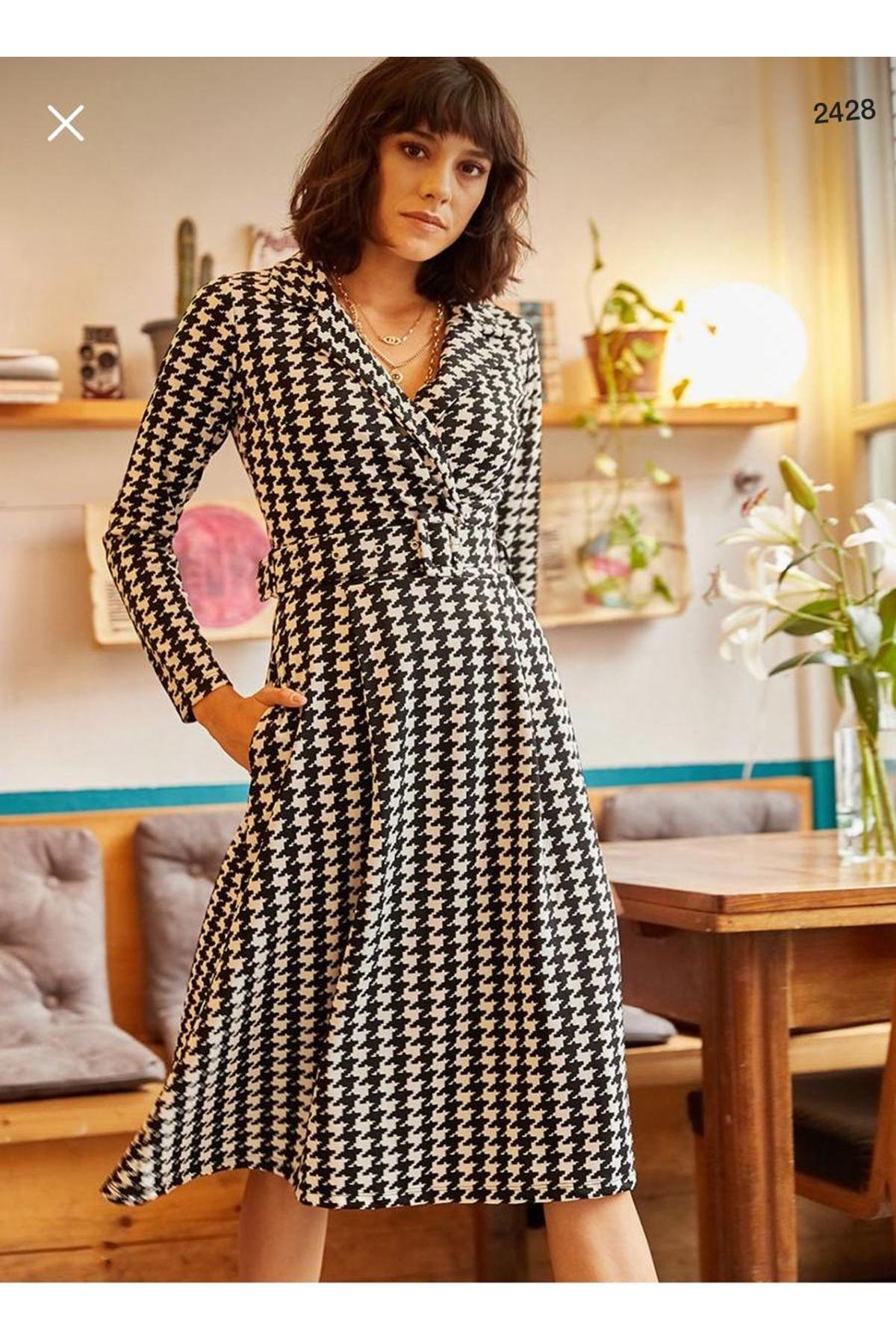 Kazayağı Desen Kemerli Elbise - multi