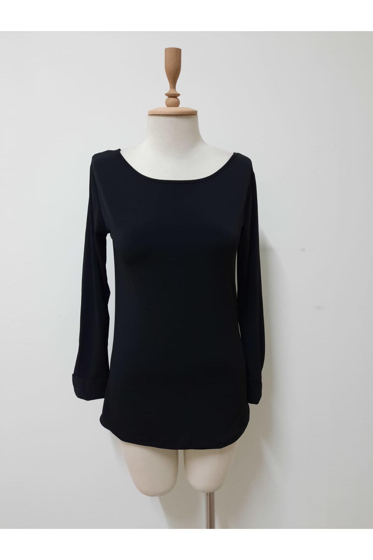 Sırt V Yaka Bluz - siyah