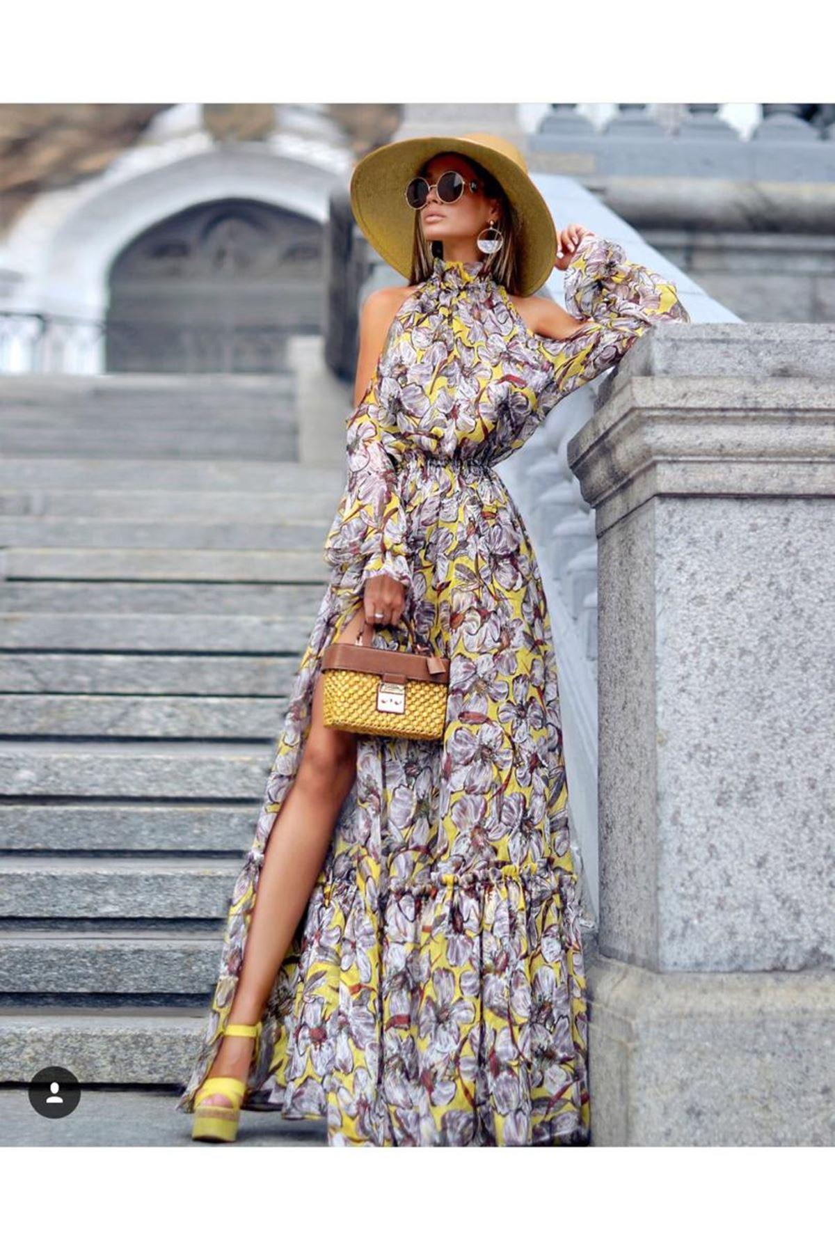 Çiçek Desen Maxi Şifon Elbise - multi