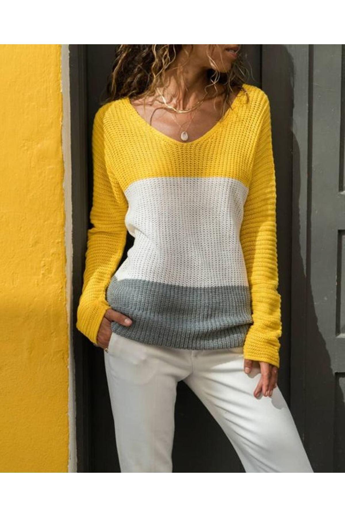 Renk Geçiş Triko Kazak - sarı