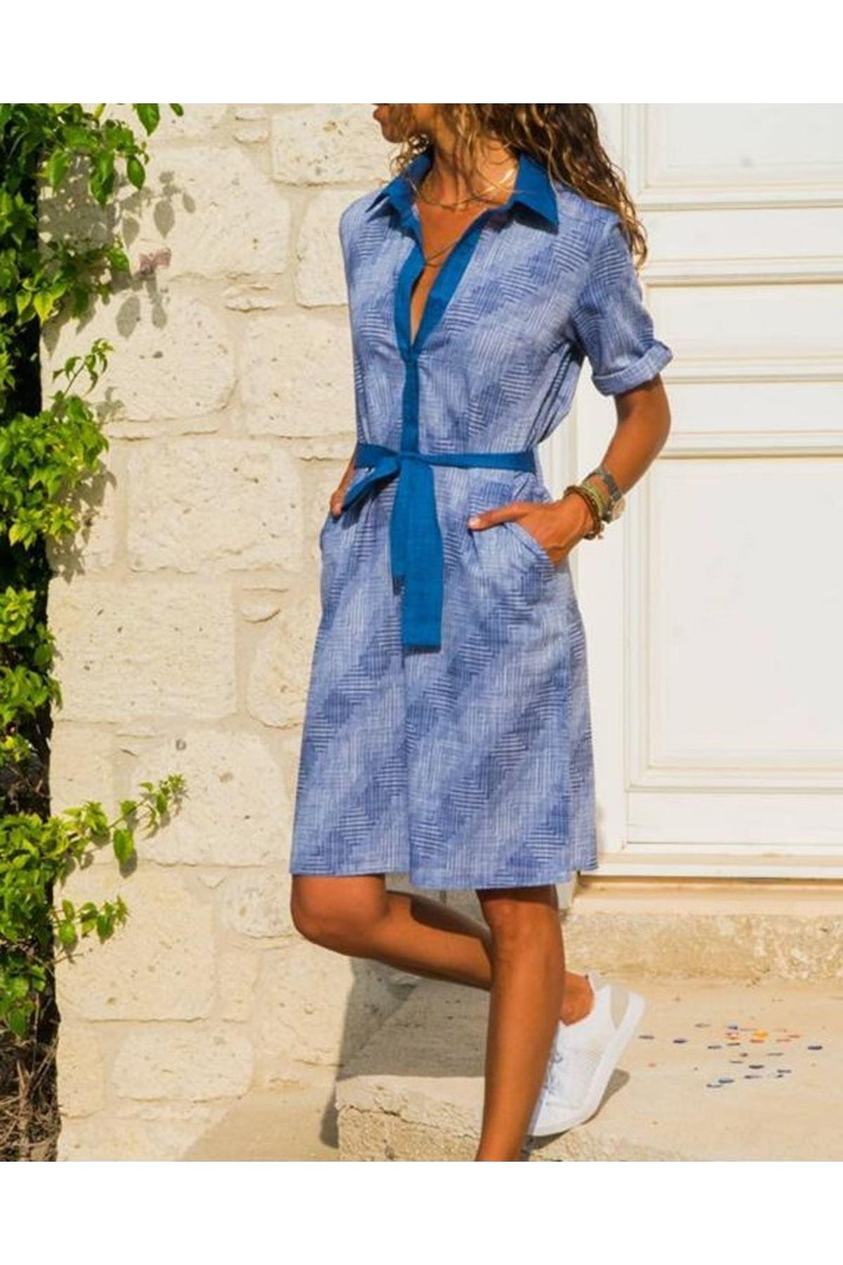 Yarım Patlı Desenli Elbise - İndigo