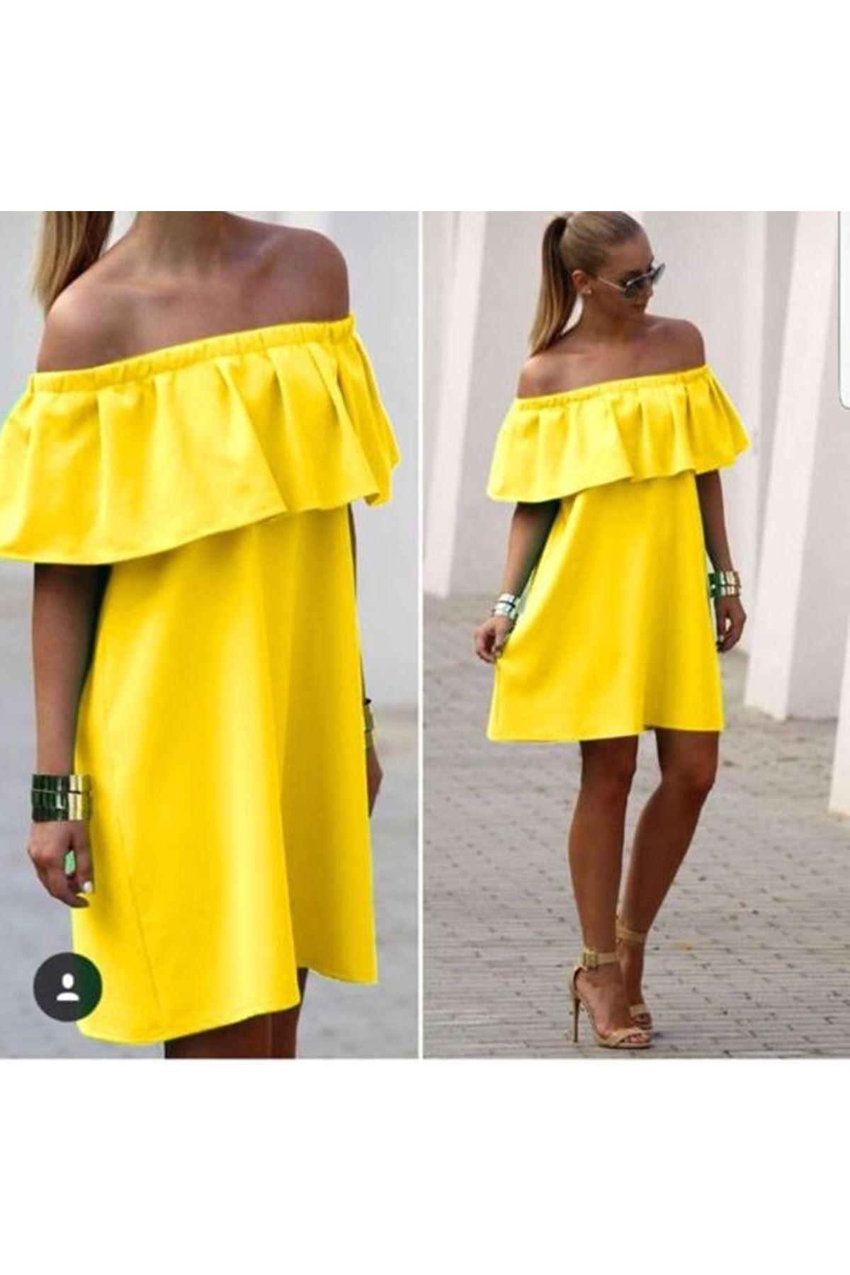 Madonna Mini Elbise - sarı