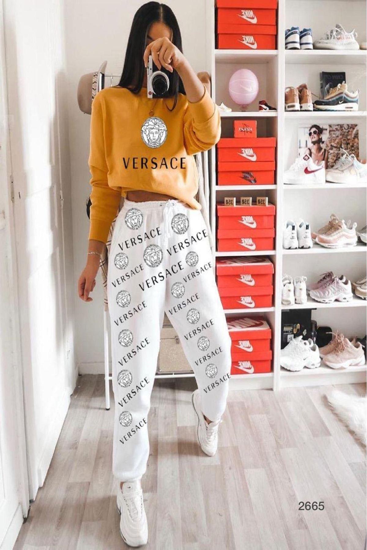 Dijital Versace Baskılı ikili Takım - hardal
