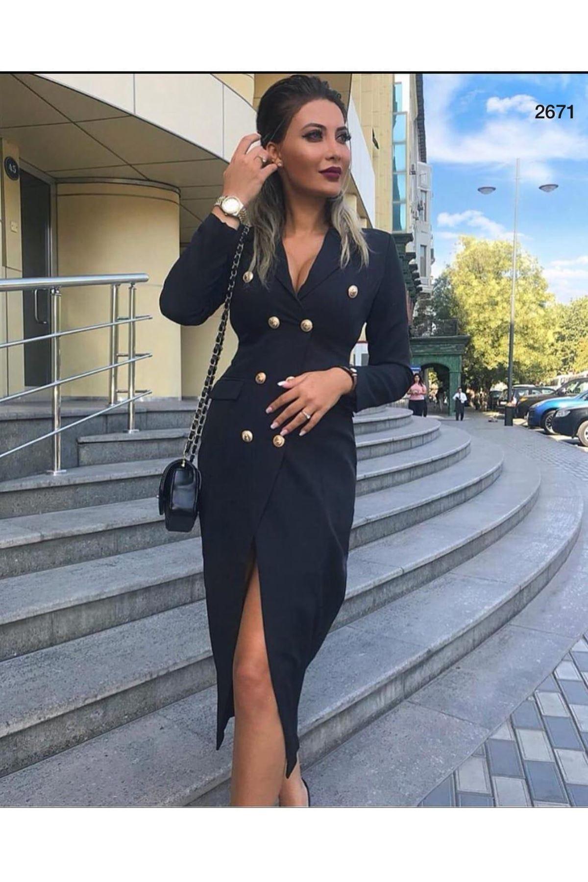 Düğme Detaylı Ceket Elbise - siyah