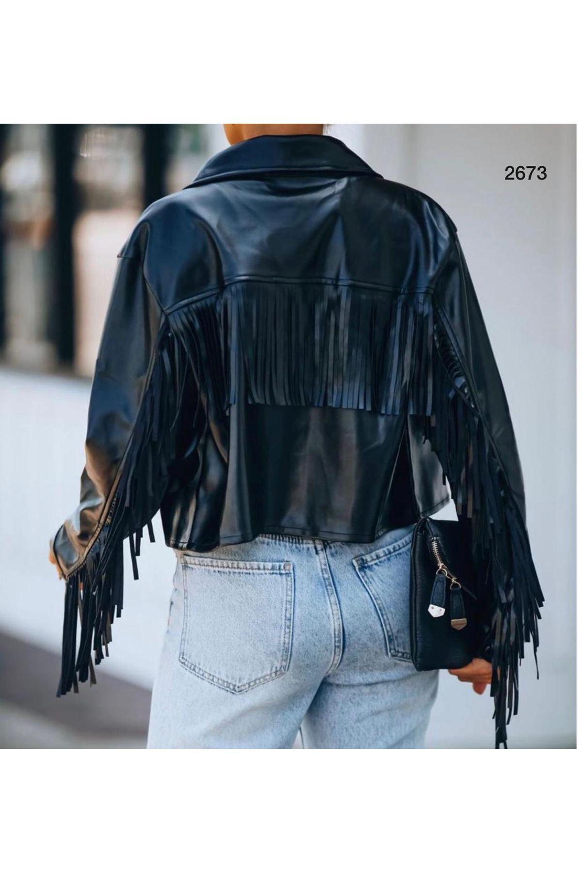 Püsküllü Deri Ceket - siyah