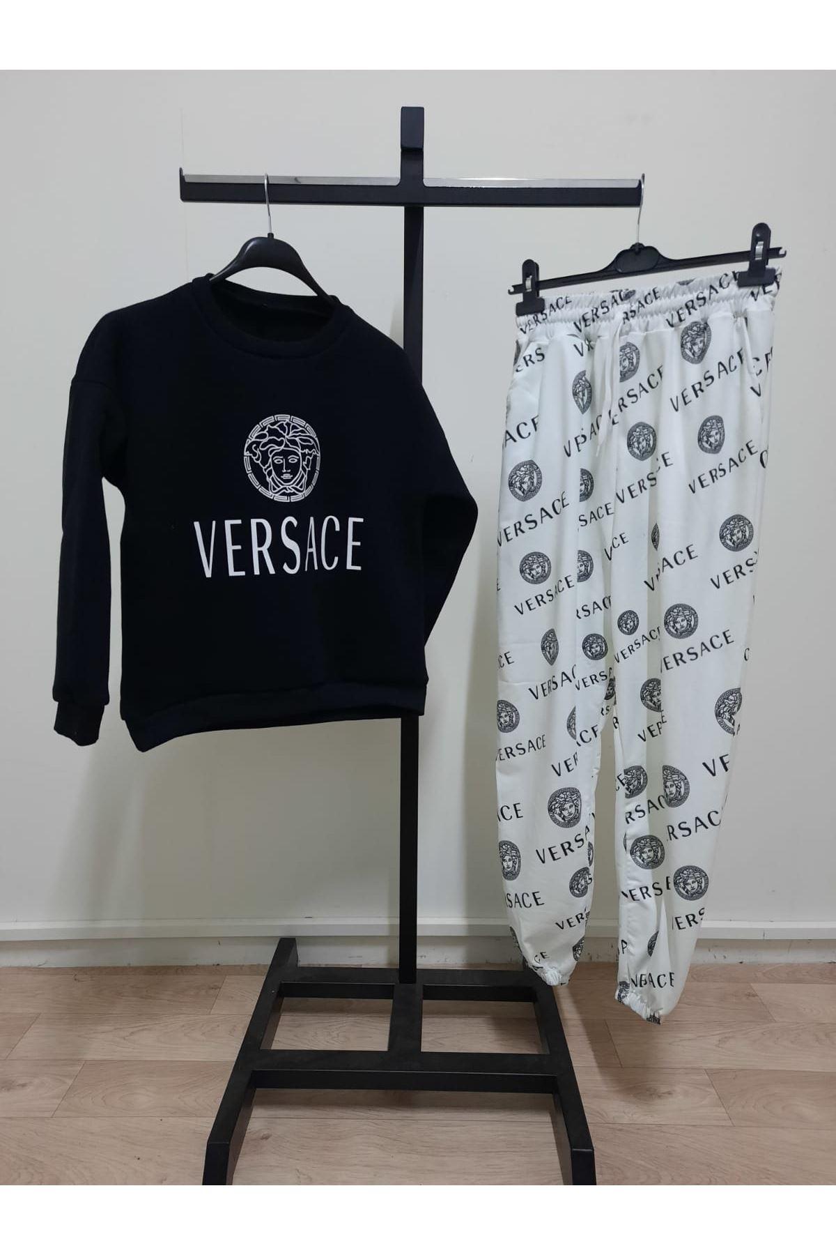 Dijital Versace Baskılı ikili Takım - siyah