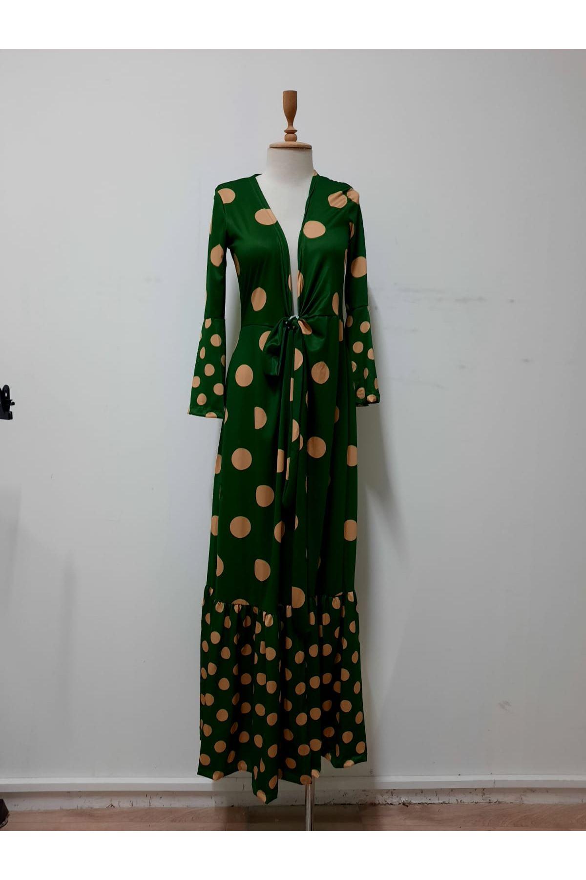 Yırtmaçlı Puanlı Maxi Elbise - YEŞİL