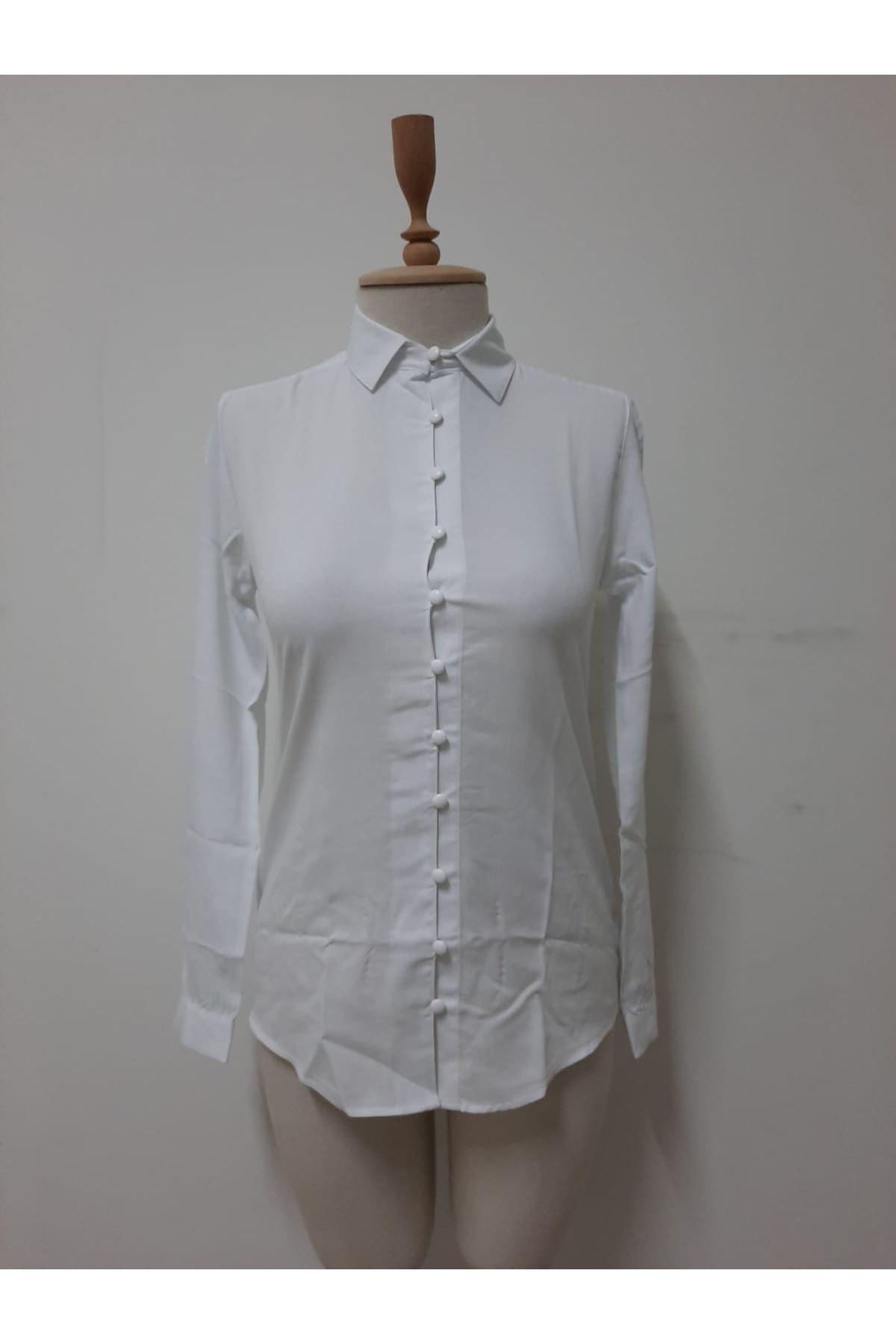 Full Düğmeli Gömlek - beyaz