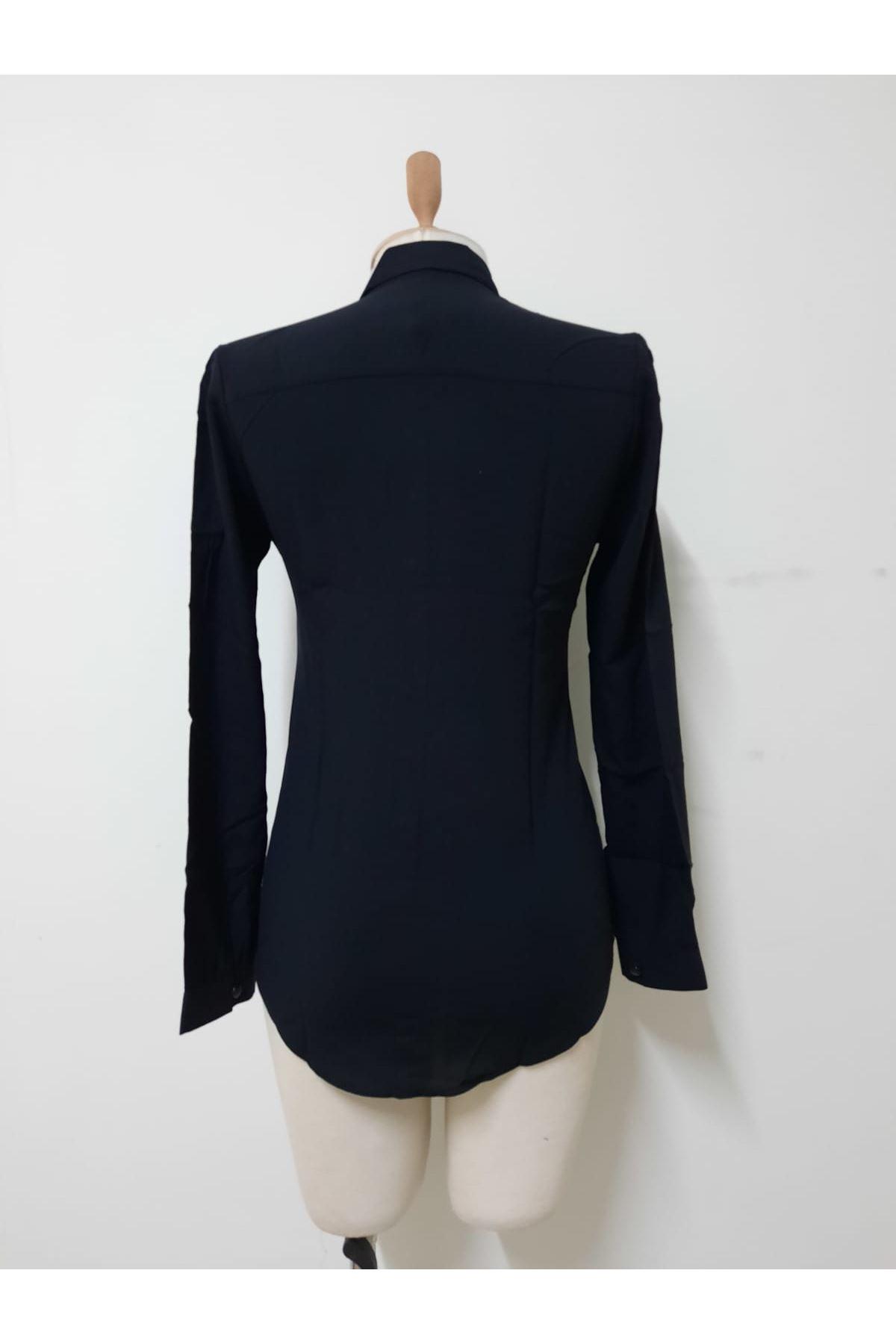Full Düğmeli Gömlek - siyah