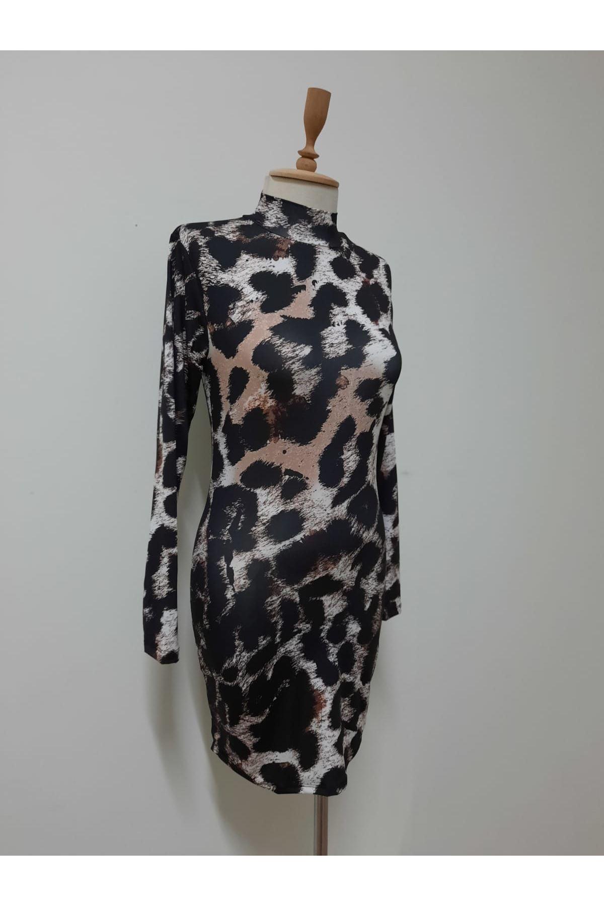 Dijital Baskılı Mini Elbise - siyah