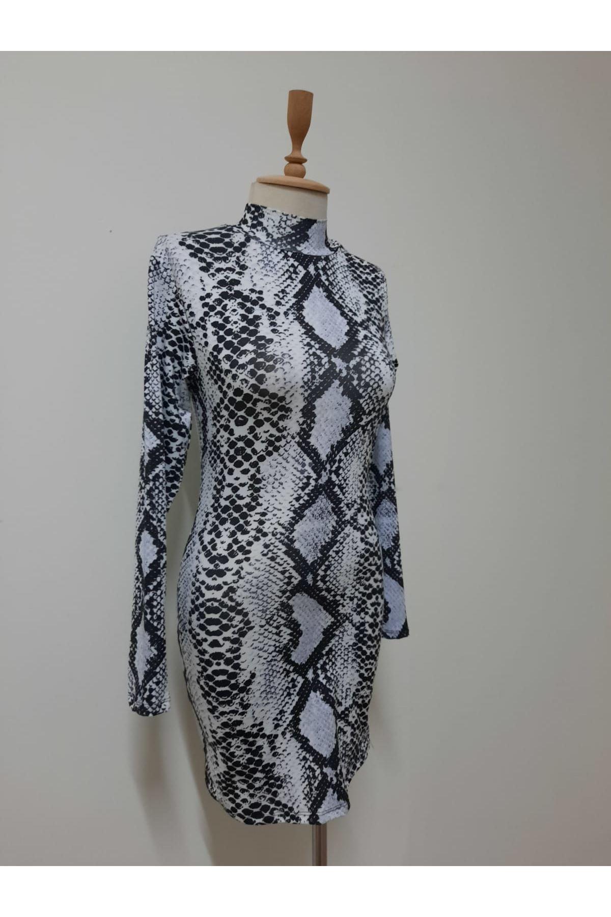 Yılan Desenli Mini Elbise - gri