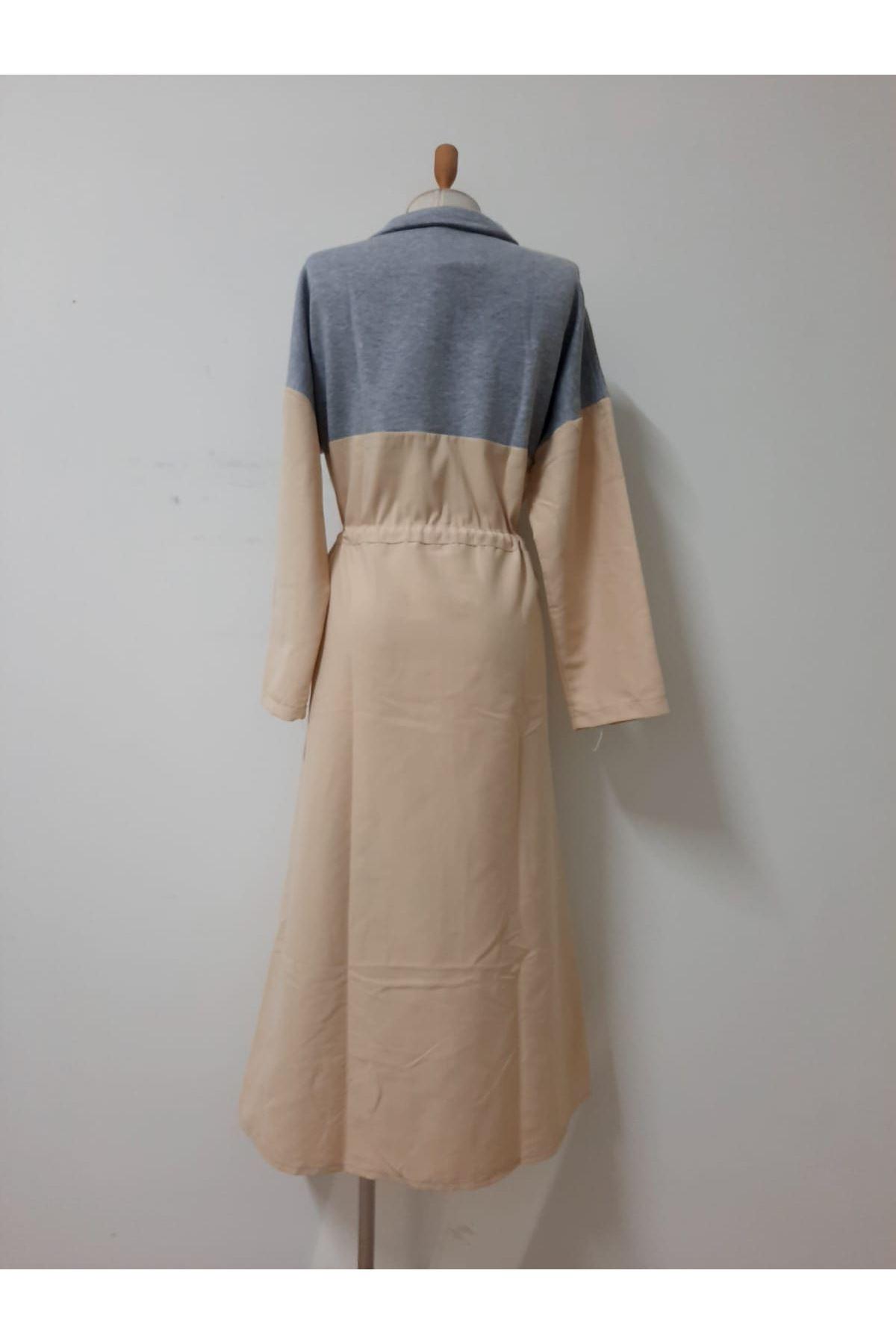 Yeni Sezon Fermuarlı Elbise  - bej