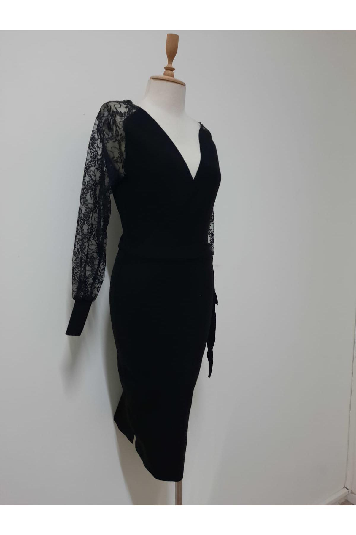 Dantelli Triko Elbise - siyah