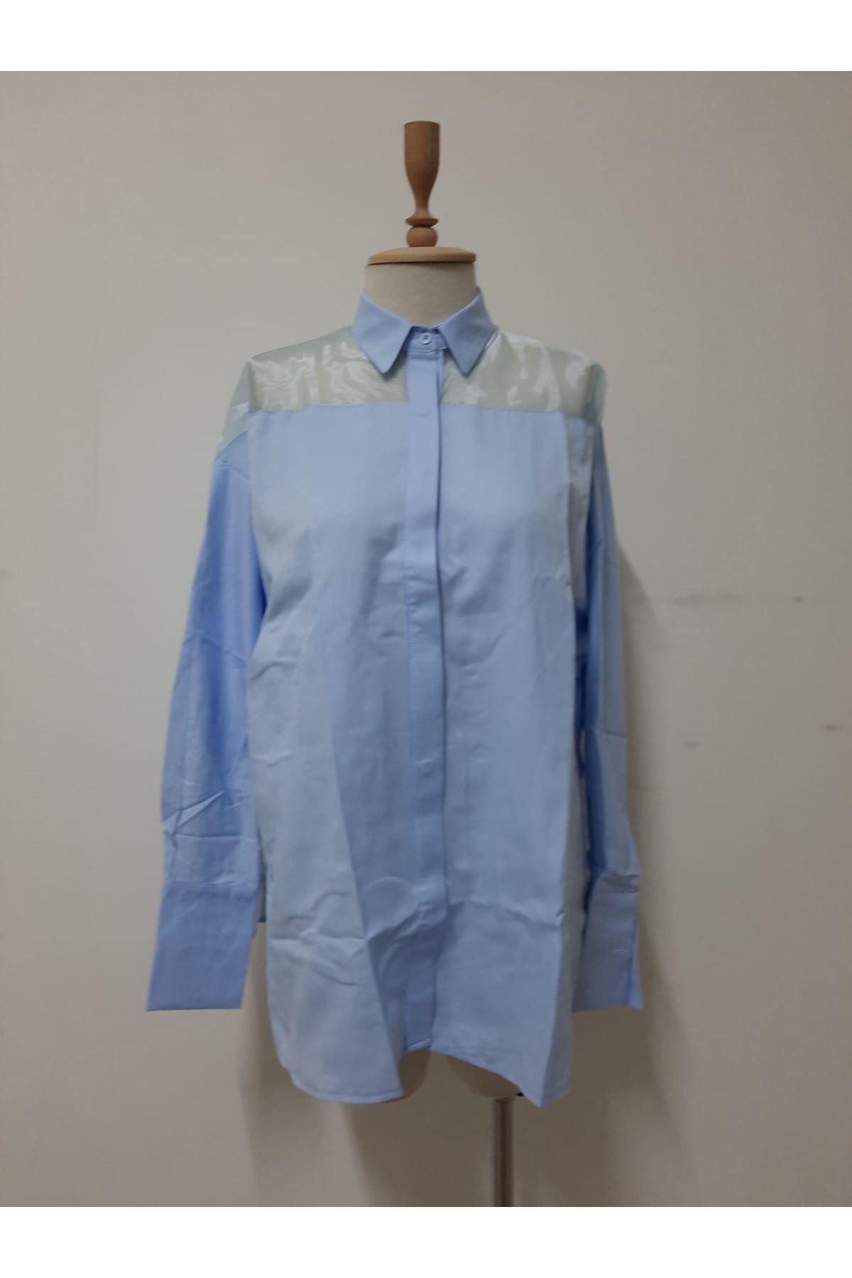 Organze Detay Gömlek - MAVİ