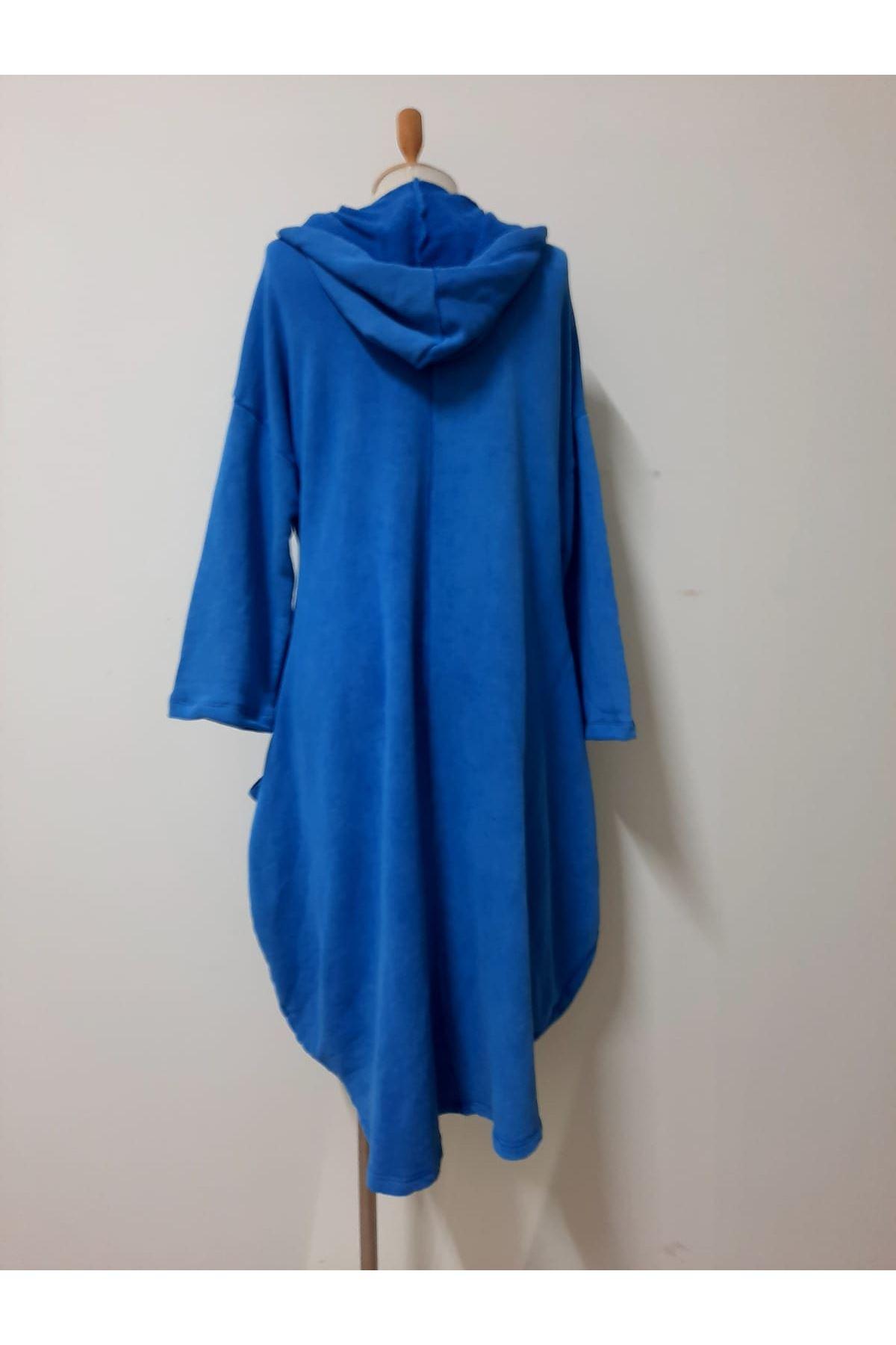 Happy Kapşonlu Tunik Elbise - indigo