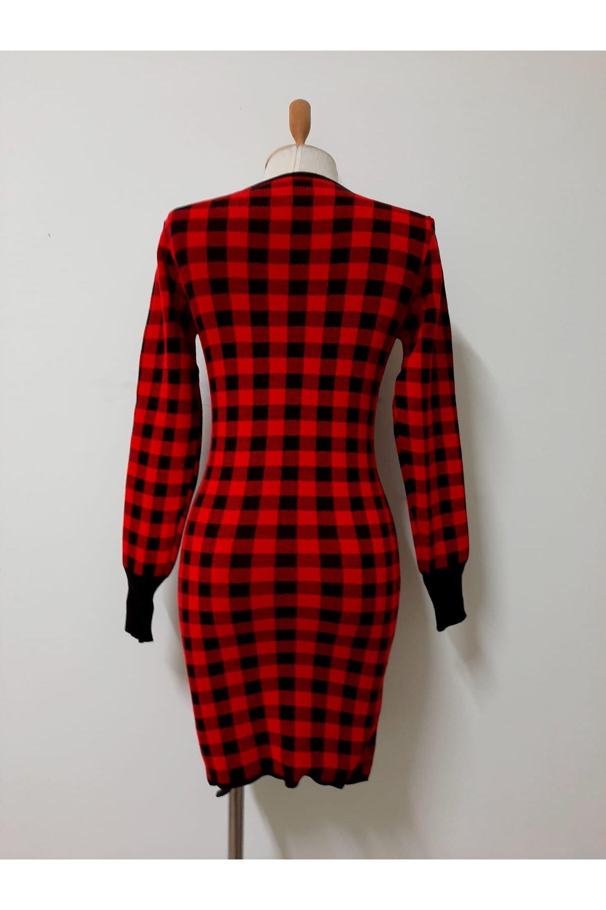 Kırmızı Ekoseli Triko Elbise - Kırmızı