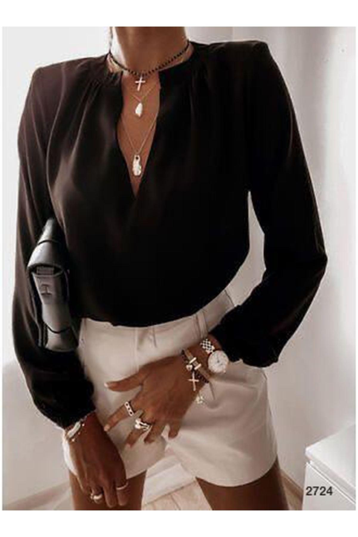 V Yakalı Jessica Bluz - siyah