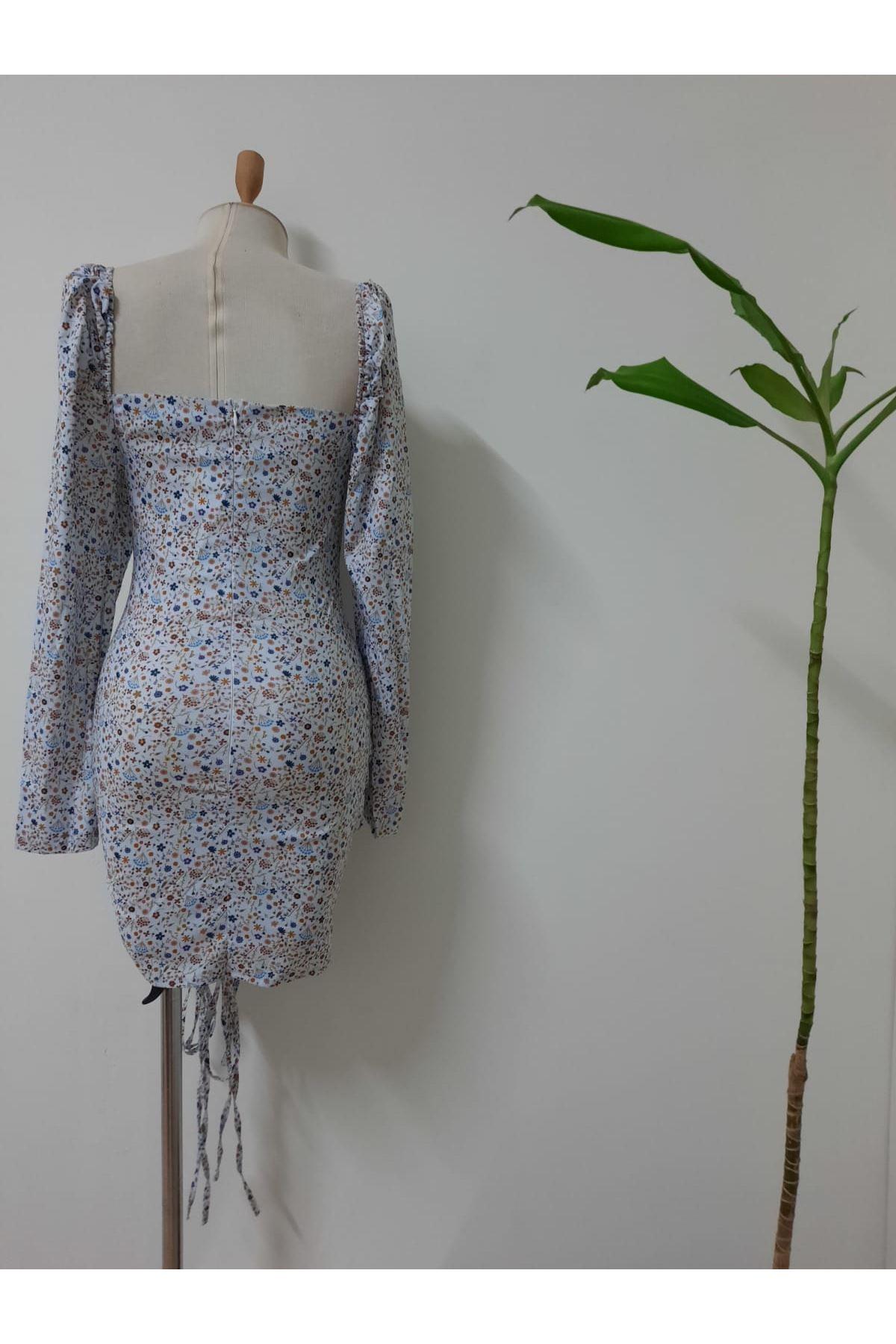 U Yaka Çıtır Mini Elbise - multi