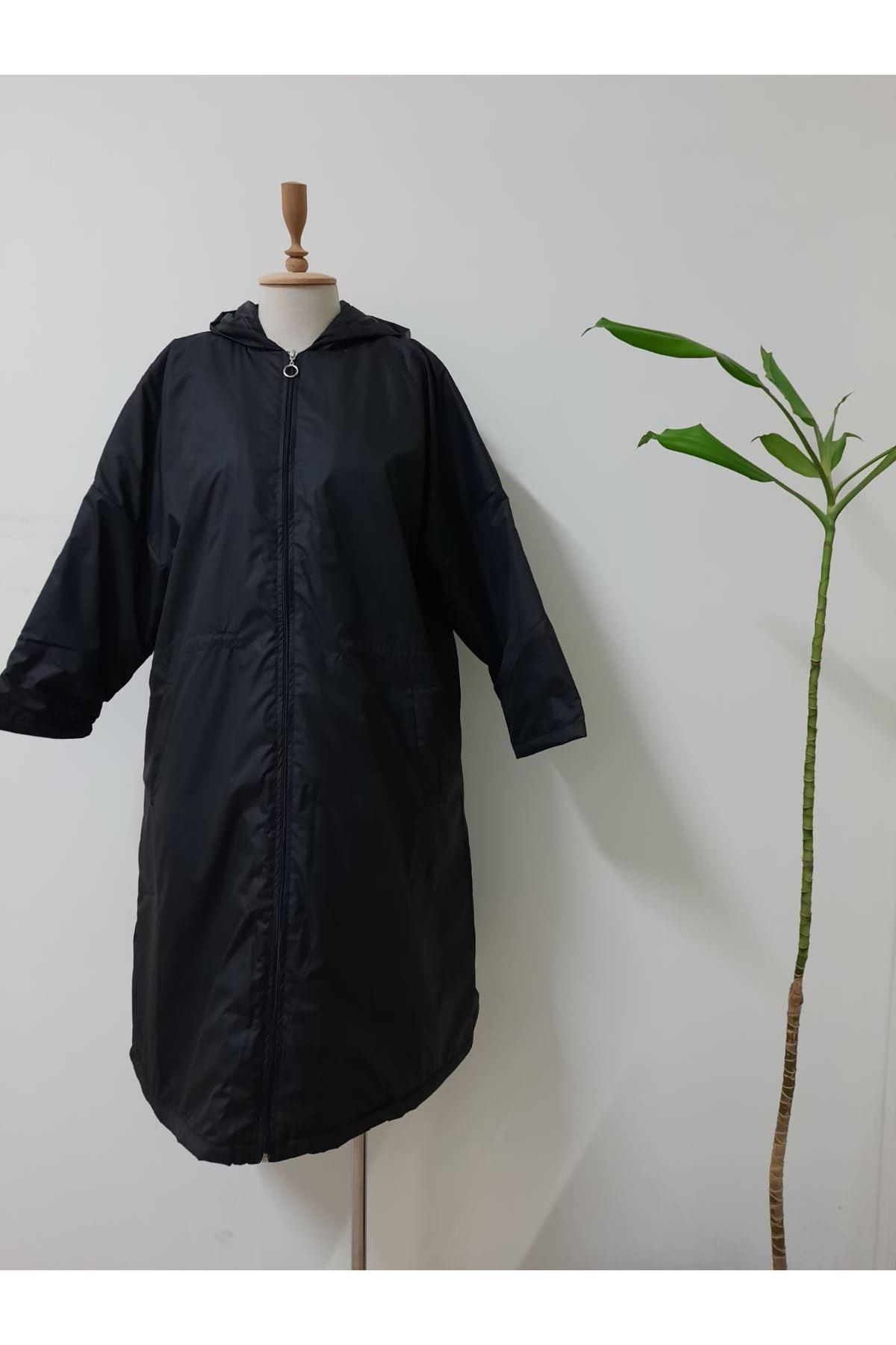 Astarlı Uzun Yağmurluk- siyah