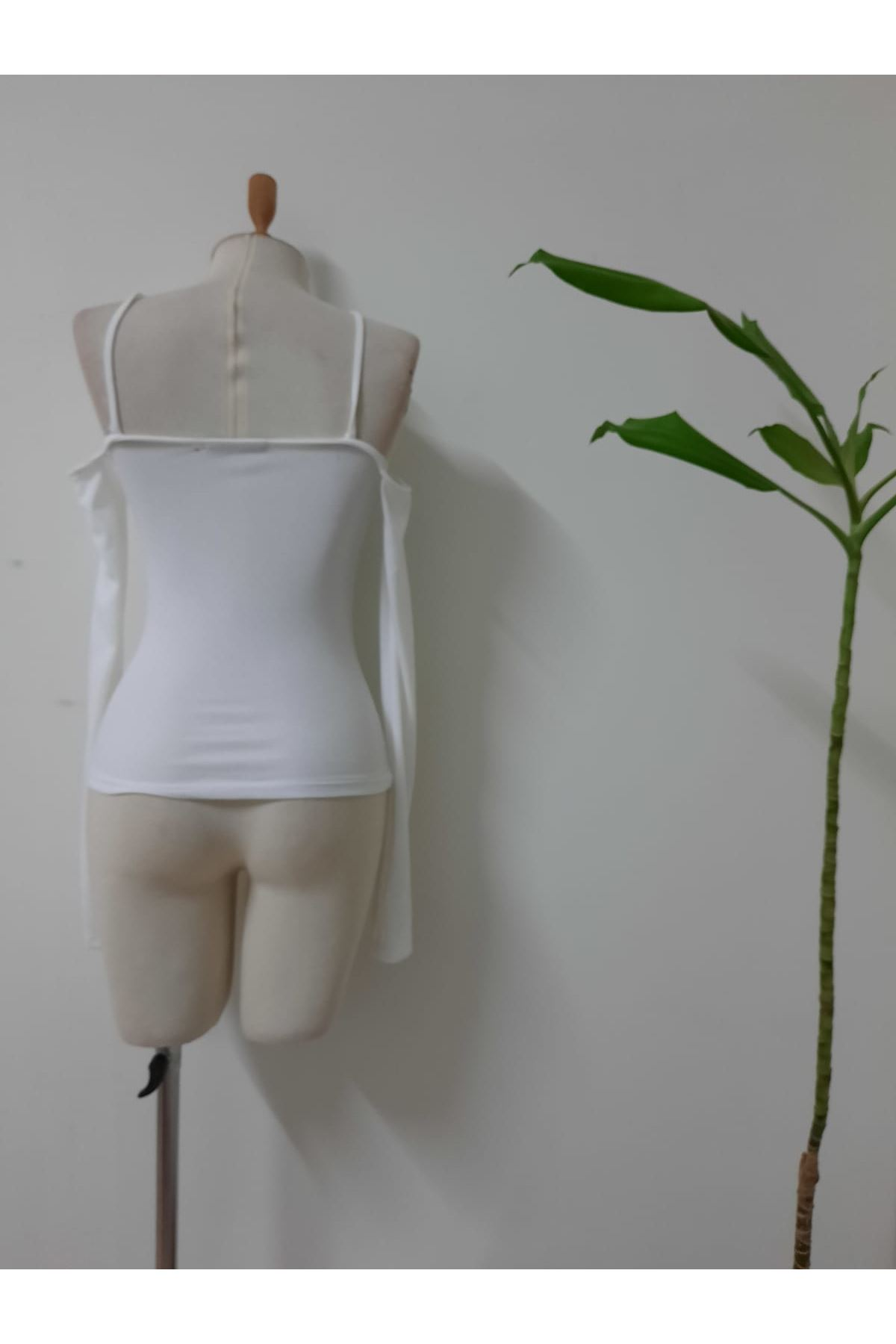 Omuz Detaylı Çapraz Bluz - beyaz