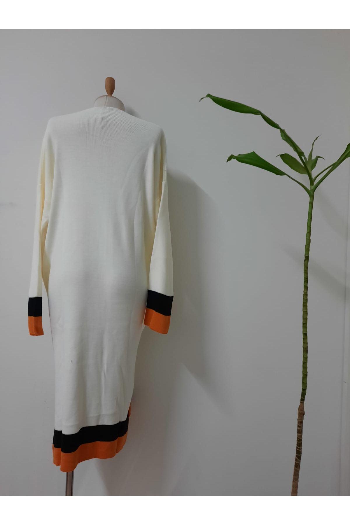Şeritli Triko Hırka - beyaz