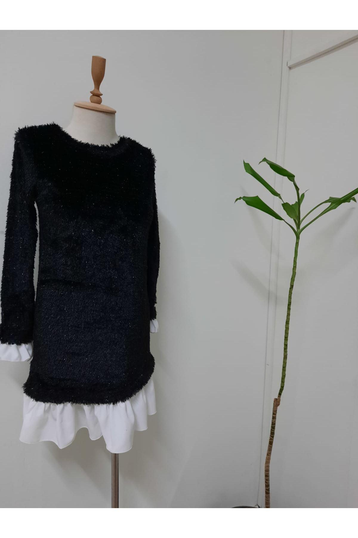 İthal Saçaklı Etek Ve Kol Detay Elbise - siyah