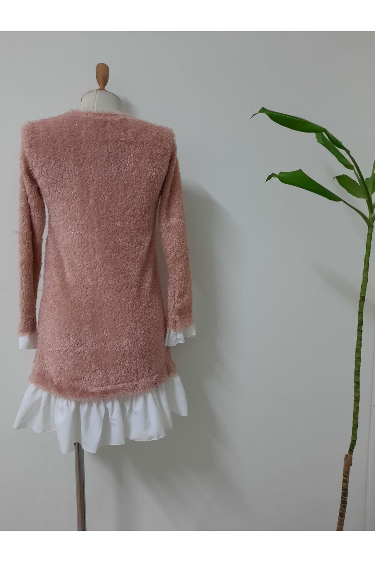 İthal Saçaklı Etek Ve Kol Detay Elbise - pudra