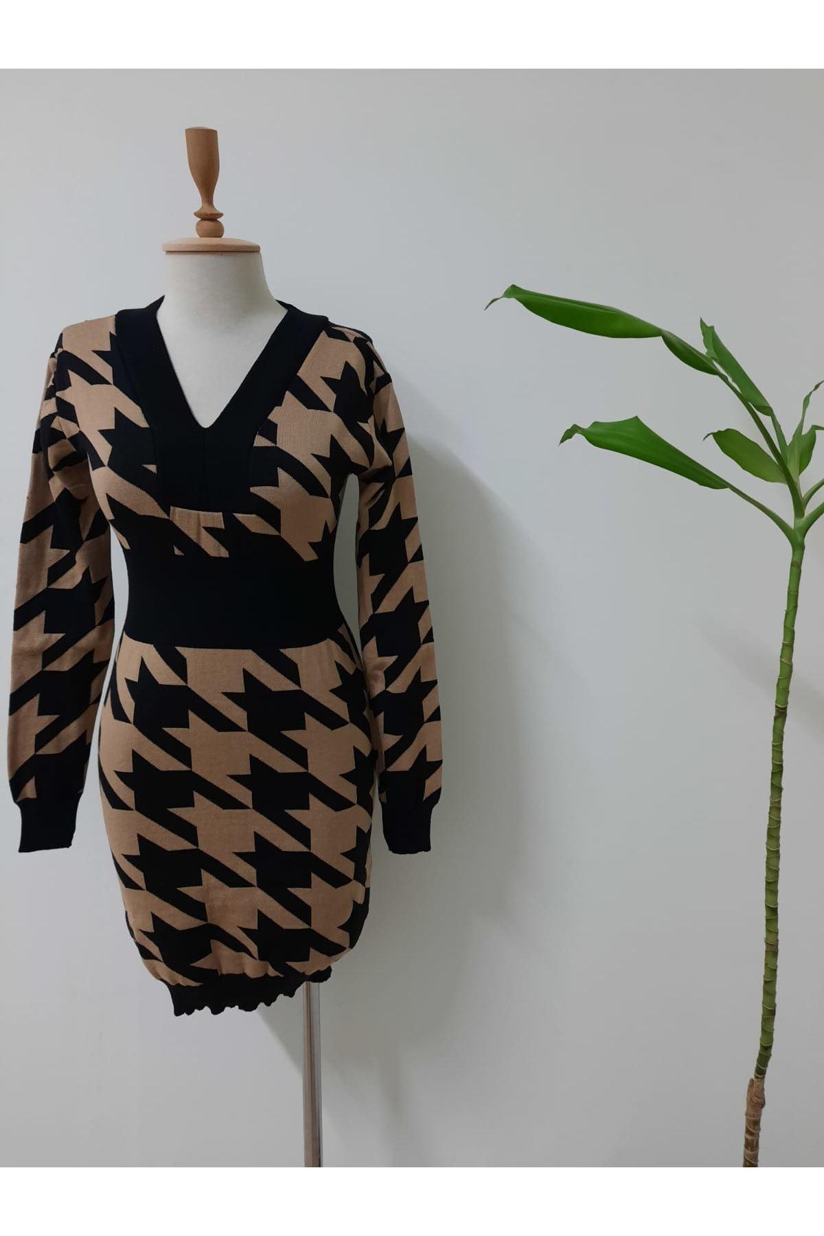 Kazayağı Desen Triko Elbise - vizon