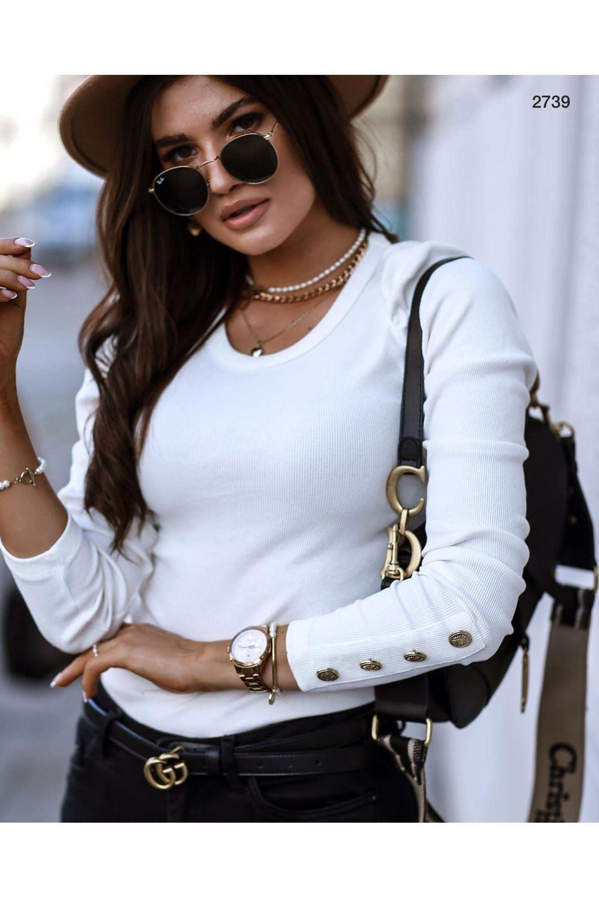 Kol Düğmeli 3 Renk Bluz - beyaz