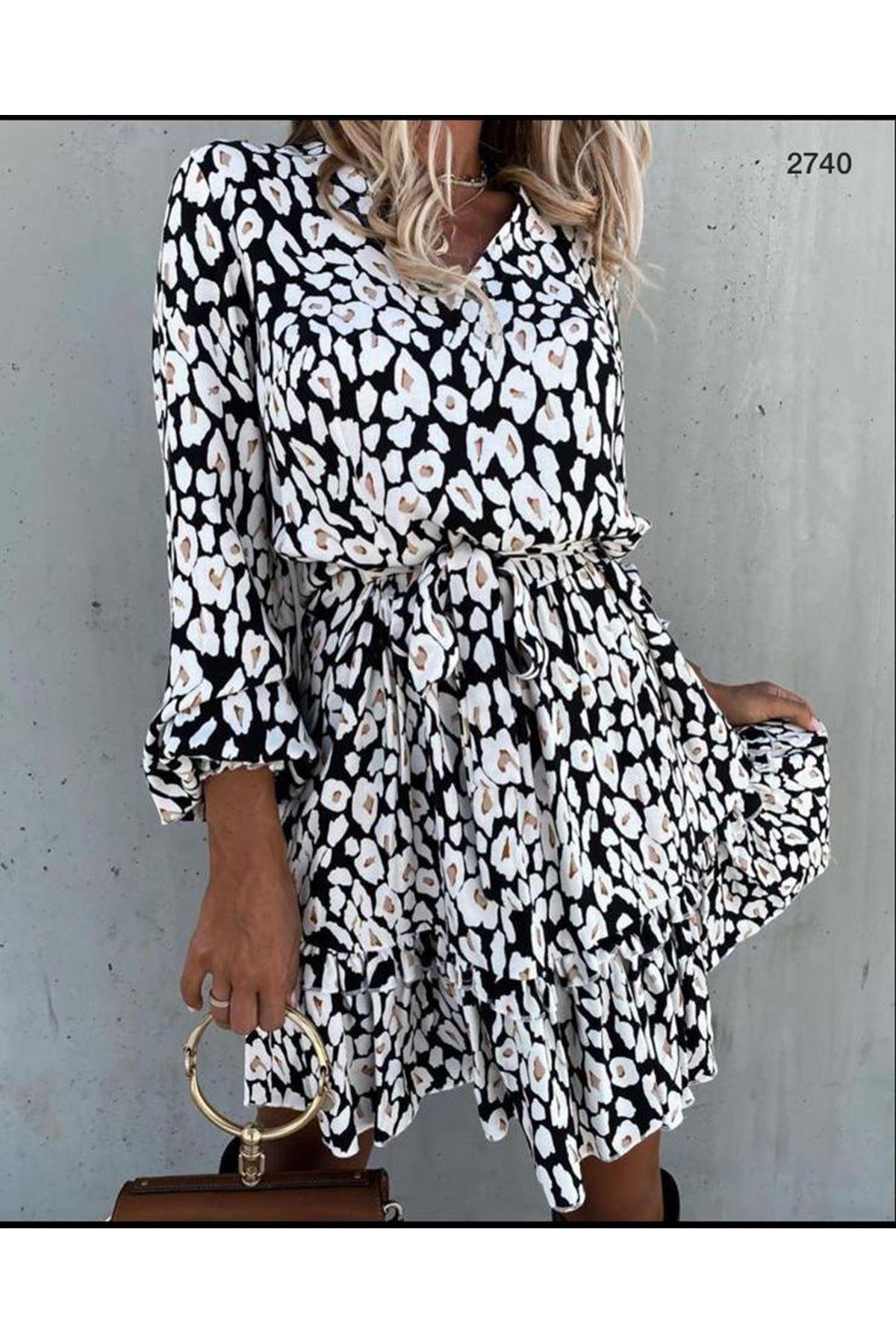 Eteği Fırfır Mini Elbise - beyaz
