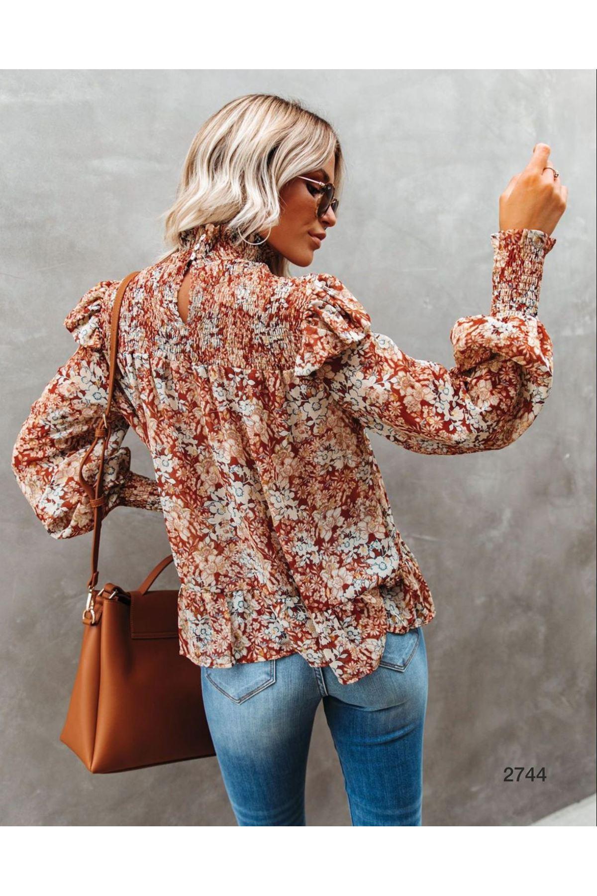 Gipeli Çiçek Desen Bluz - MULTİ