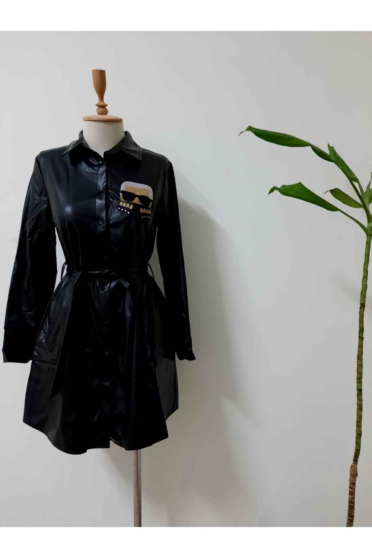 Karl Model Deri Elbise - siyah