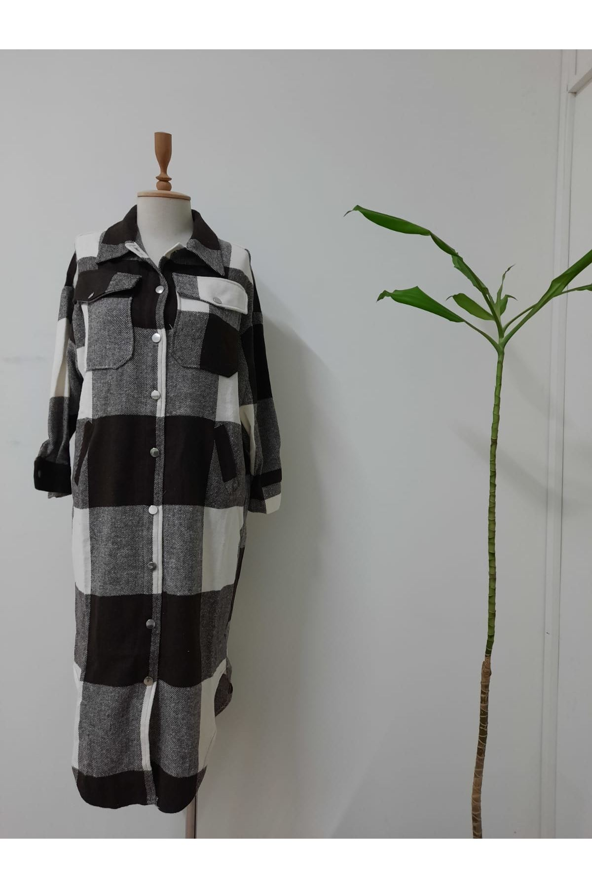 Asimetrik Ekose Gömlek Elbise - SİYAH
