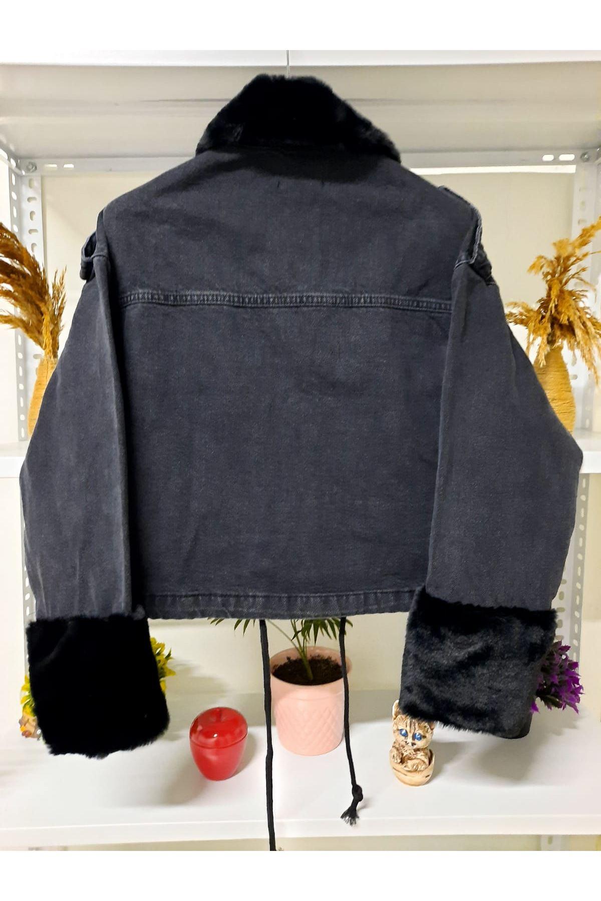 Kürk Detaylı 2 Renk Ceket - siyah