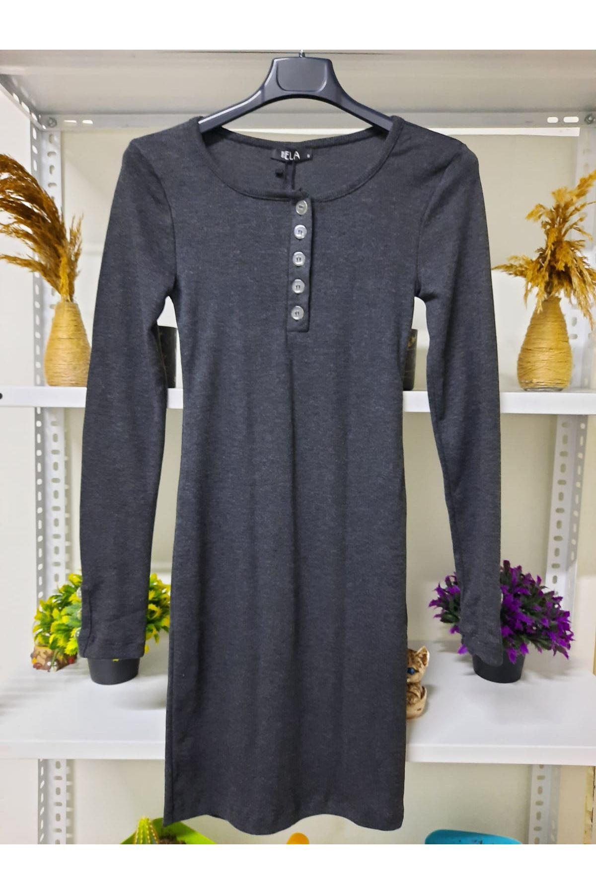 Yaka Düğmeli Kaşkorse Elbise - ANTRASİT