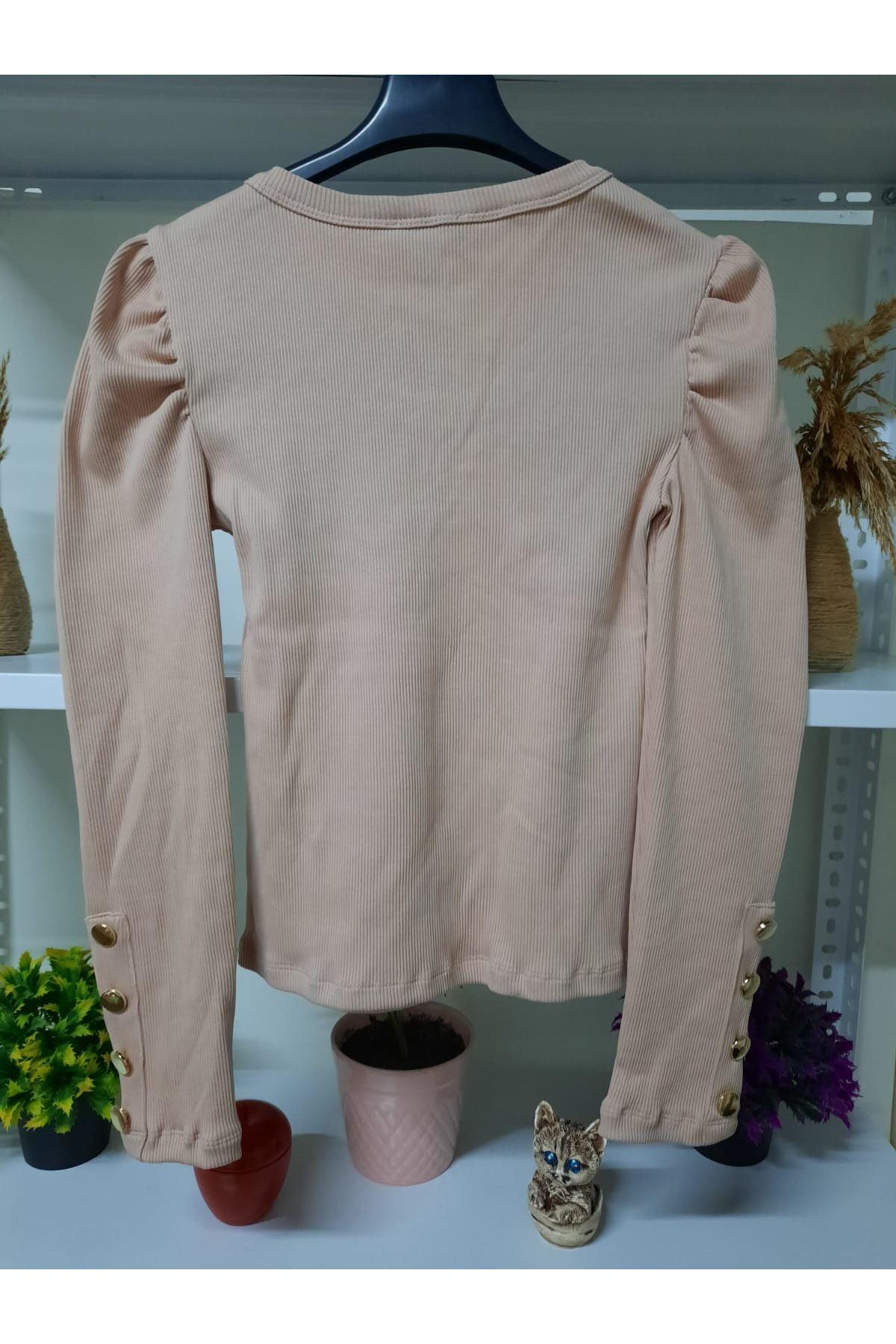 Kol Düğmeli 3 Renk Bluz - taş