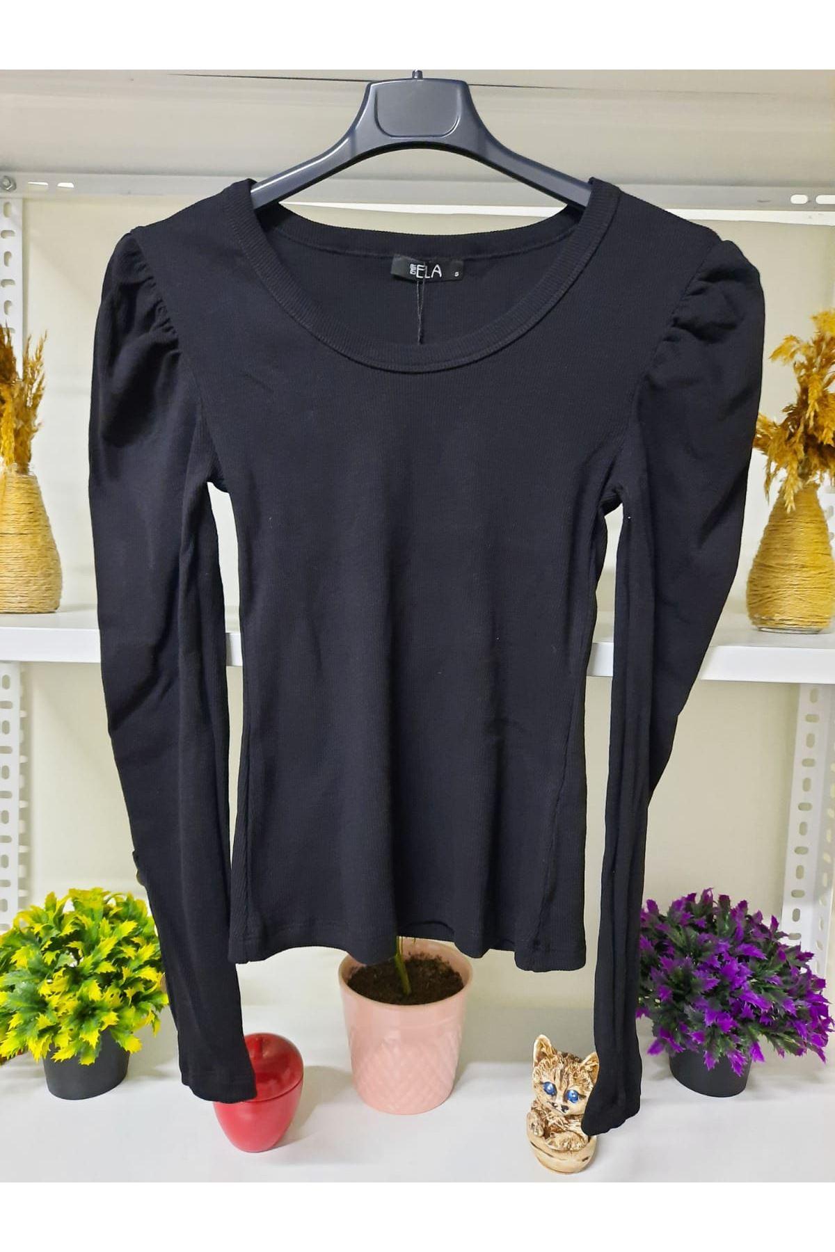 Kol Düğmeli 3 Renk Bluz - siyah