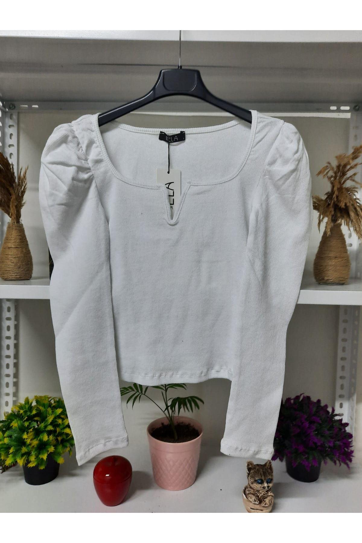 U Yaka Kaşkorse Bluz - beyaz