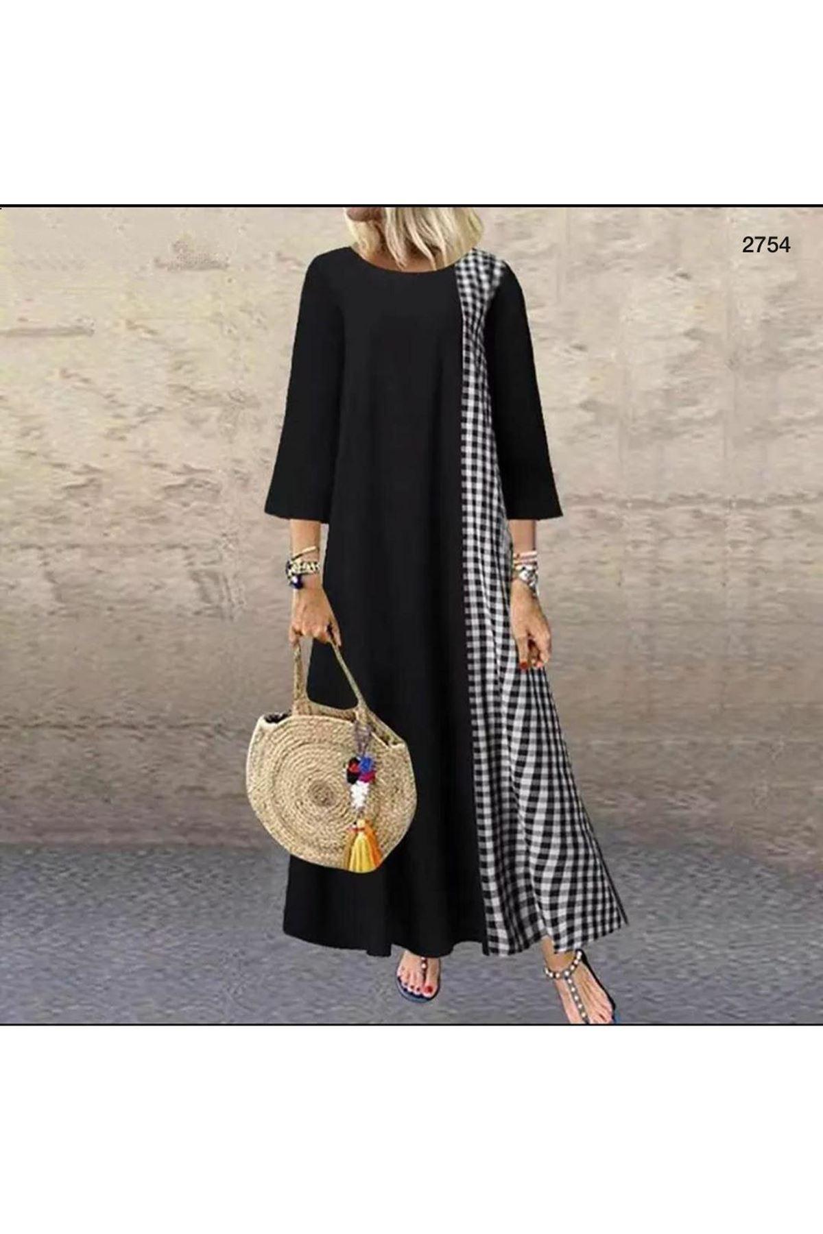 Ekose Detaylı Salaş Elbise - siyah